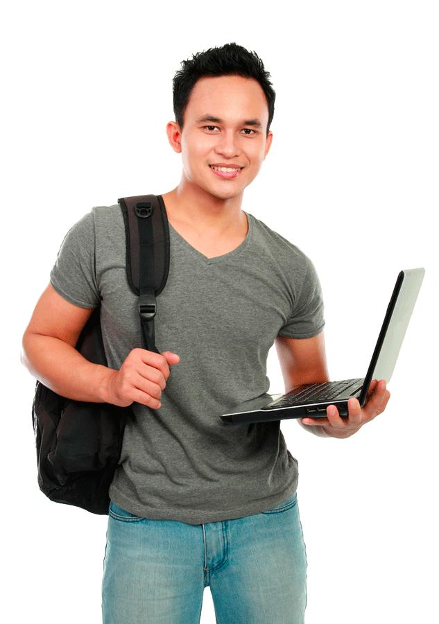 jeune étudiant debout avec un laptop